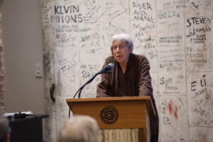 Ursula K. Le Guin speaks from a podium